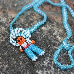[5/$25]VTG Native American Seed Bead Doll Necklace